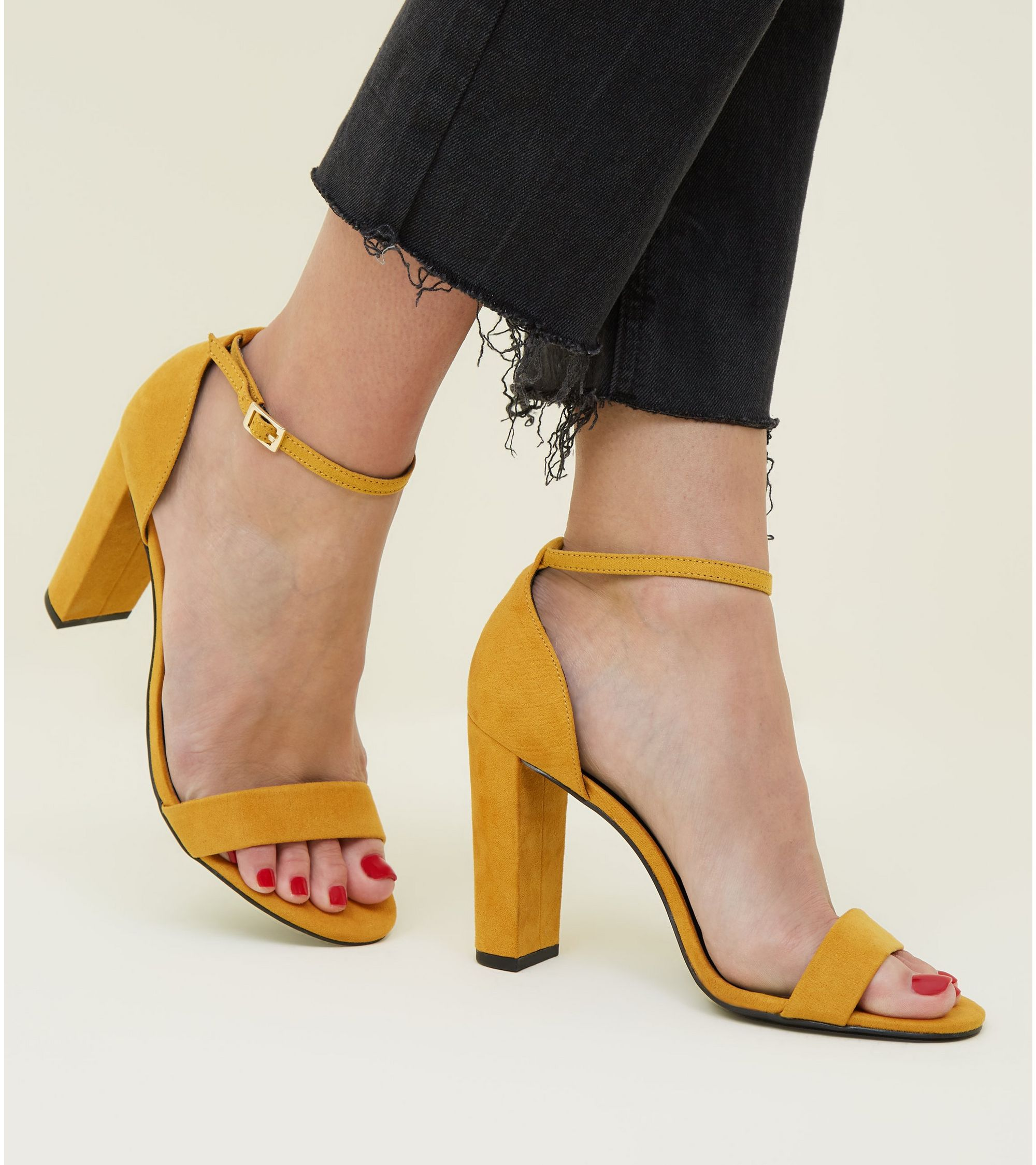 237336e1405 New Look Wide Fit Mustard Suedette Ankle Strap Block Heels at £19.99 ...