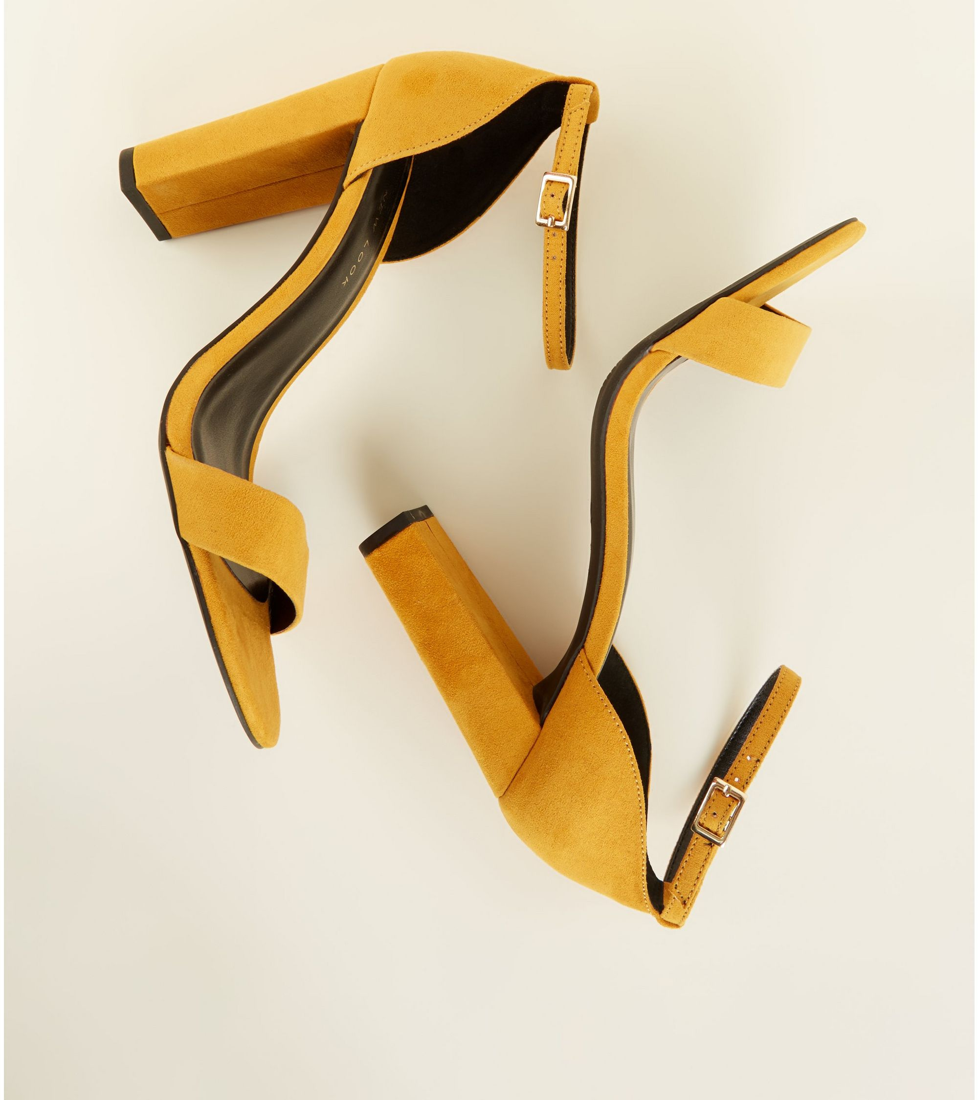 dc579997a3c New Look Wide Fit Mustard Suedette Ankle Strap Block Heels at £19.99 ...