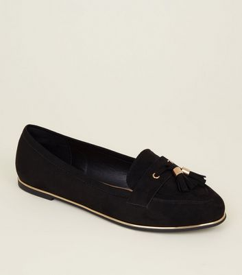 Wide Fit Black Suedette Metal Piped Tassel Loafers