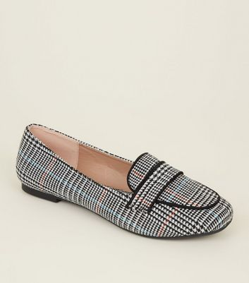 Wide Fit Black Check Loafers