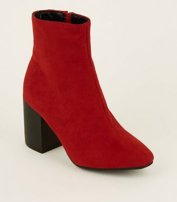 Red Suedette Block Heel Ankle Boots