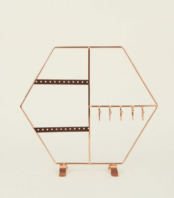 Rose Gold Hexagonal Jewellery Stand by New Look