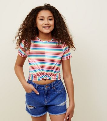 Teens Rainbow Stripe Twist Front T-Shirt