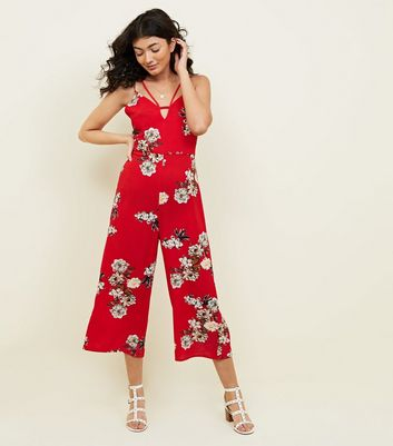 Cameo Rose Red Floral Keyhole Neck Cropped Jumpsuit