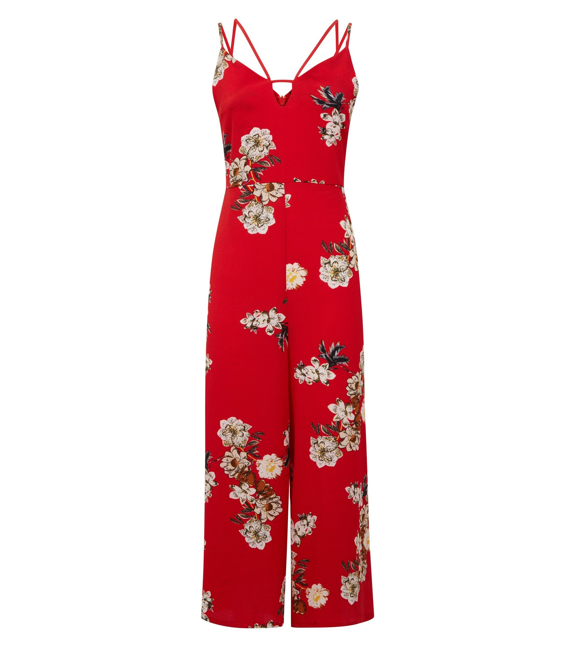 8989cdb019b New Look Cameo Rose Red Floral Keyhole Neck Cropped Jumpsuit at ...