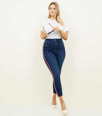 Curves Blue Side Stripe High Waist Super Skinny Jeans
