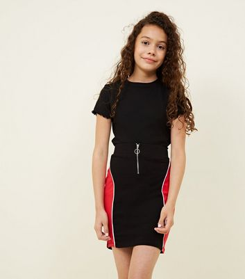 Teens Black Panelled Ring Zip Front Skirt by New Look
