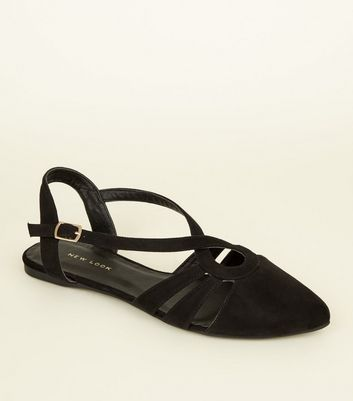 Black Suedette Flat T Bar Pumps