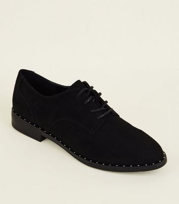 Black Suedette Studded Lace-Up Shoes