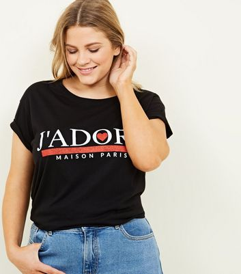 Curves Black J'Adore Paris Slogan T-Shirt