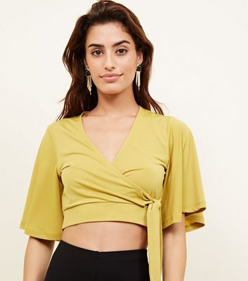 Mustard Wrap Front Flutter Sleeve Crop Top