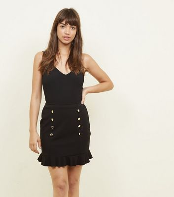 Black Button Front Frill Hem Skirt