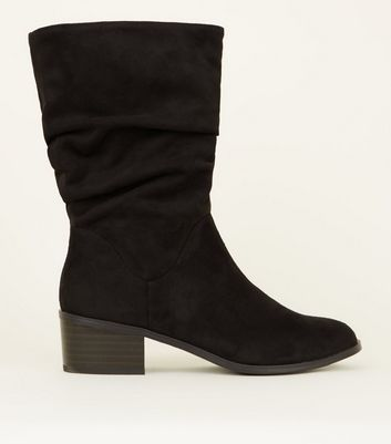 girls-black-suedette-slouch-calf-boots by new-look