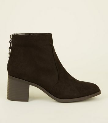 Girls Black Suedette Ring Zip Ankle Boots by New Look