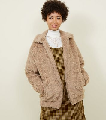 Cream Faux Teddy Fur Bomber Jacket