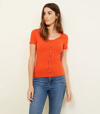 Bright Orange Button Through Ribbed T-Shirt