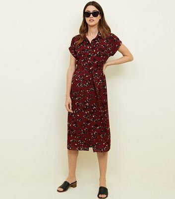 Red Animal Print Midi Shirt Dress