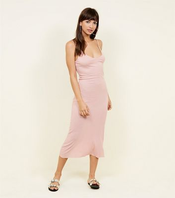 Brave Soul Pale Pink Ribbed Midi Dress