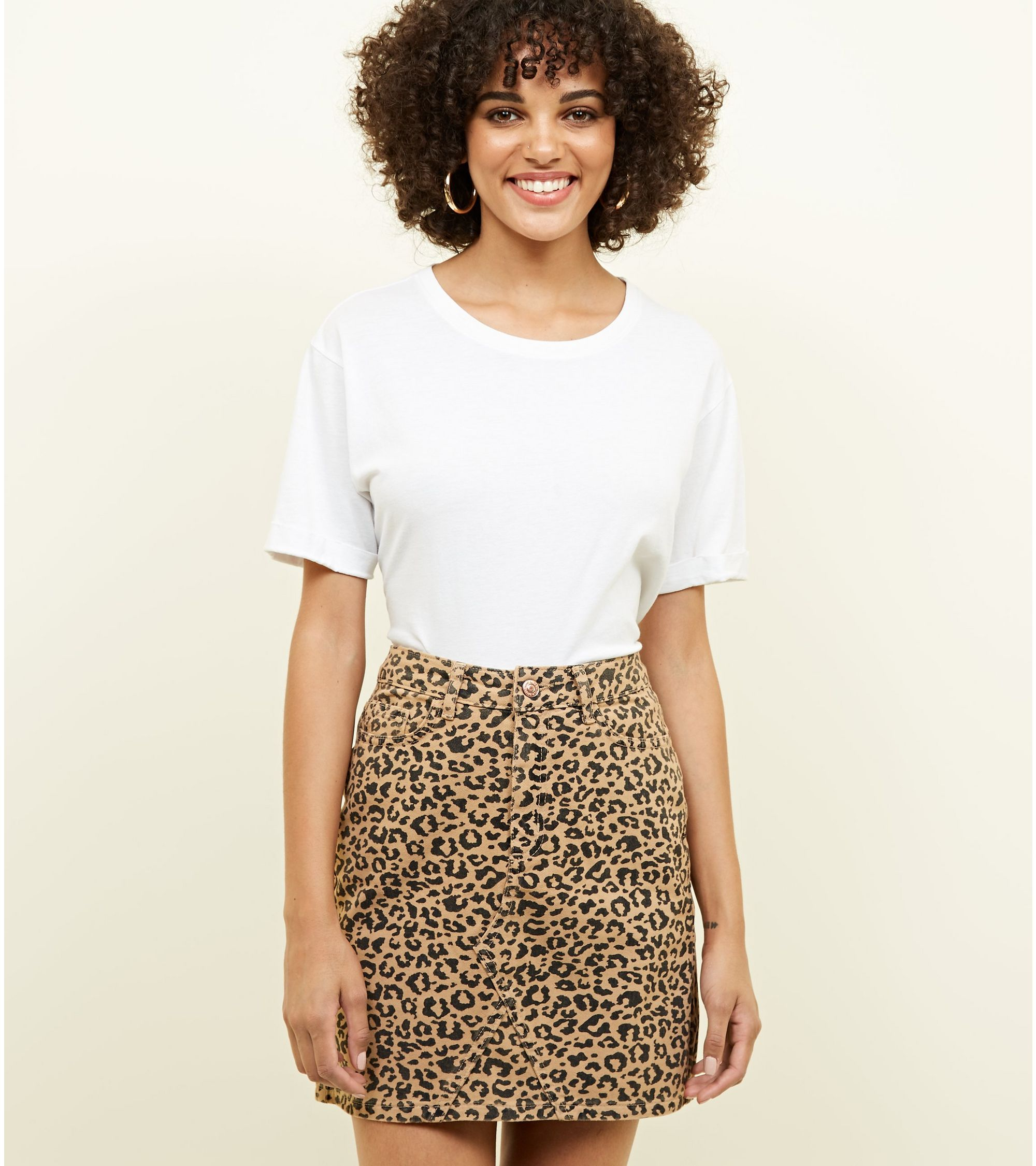 fast delivery select for newest Sales promotion Tan Leopard Print Denim Mini Skirt