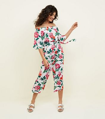 White Floral Bell Sleeve Bardot Jumpsuit