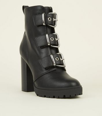 Black Ankle Length Chunky Buckle Heeled Boots