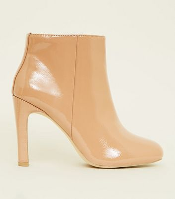 Wide Fit Camel Patent Slim Heel Ankle Boots by New Look