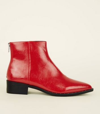 Red Patent Stud Trim Pointed Ankle Boots