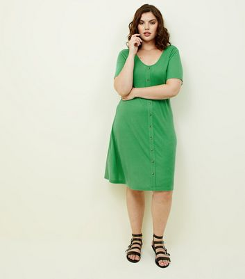Curves Green Ribbed Jersey Button Front Dress