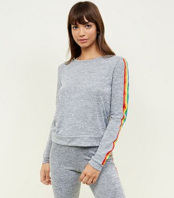 Pale Grey Rainbow Tape Side Top