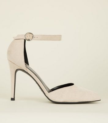 Off White Suedette Buckle Strap Heels