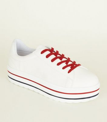White Leather-Look Chunky Stripe Flatform Trainers