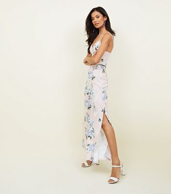Pink Floral Wide Leg Party Trousers