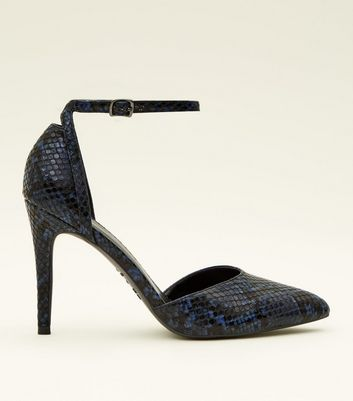 Blue Faux Snakeskin Two Part Pointed Courts