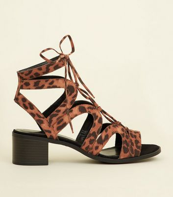 Stone Leopard Print Lace Up Ghillie Sandals