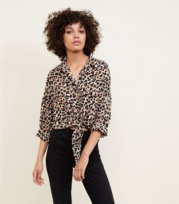 Cameo Rose Brown Leopard Print Tie Front Blouse
