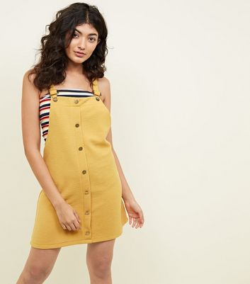 Cameo Rose Mustard Button Front Pinafore Dress