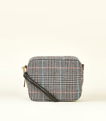 Black Check Boxy Cross Body Bag