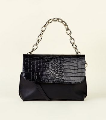 Black Faux Crocodile Chunky Chain Cross Body Bag