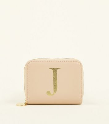 Nude J Initial Zip Around Card Holder