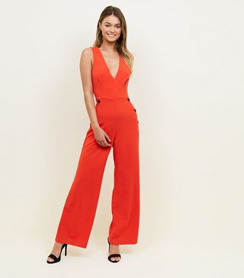 Cameo Rose Red Button Side V-Neck Jumpsuit