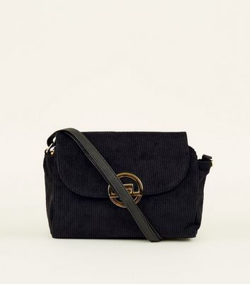 Black Corduroy Clip Lock Cross Body Bag