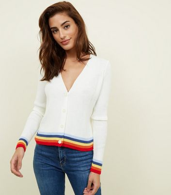 Off White Rainbow Tipped Ribbed Cardigan
