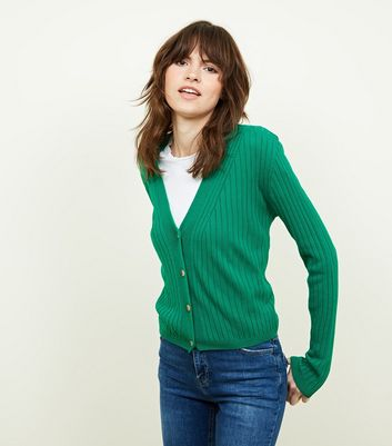 Green Ribbed Button Up Cardigan
