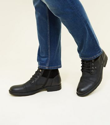 Black Military Lace Up Boots