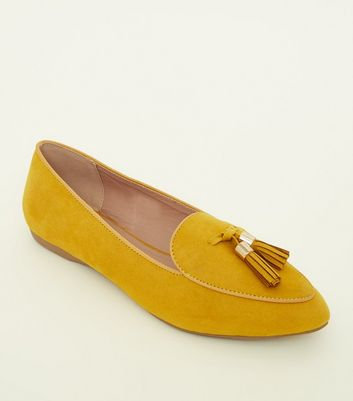 Girls  Mustard Suedette Pointed Tassel Loafers