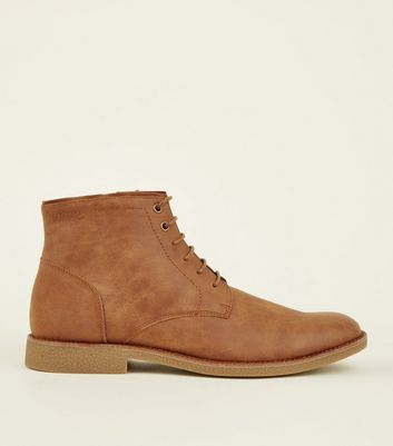 Tan Zip Leather-Look Boots