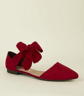 Red Suedette Bow Ankle Tie Pumps