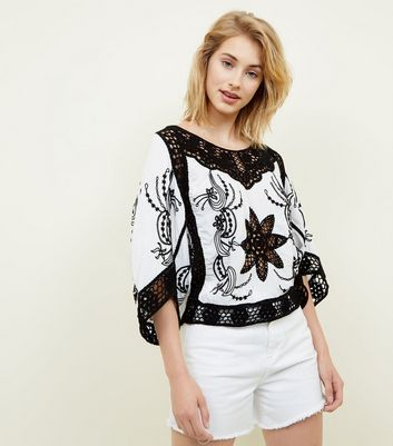White Contrast Crochet Batwing Sleeve Top