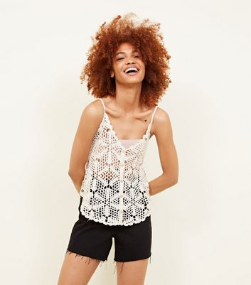 Off White Crochet Button Through Cami