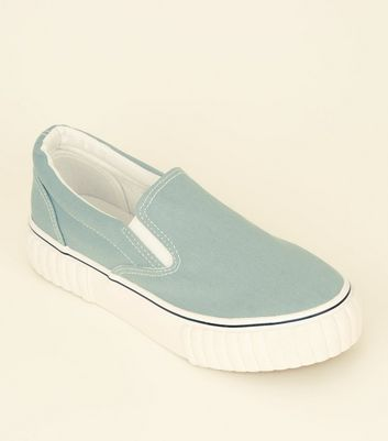 Mint Green Canvas Slip On Chunky Trainers by New Look